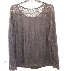 Lane Bryant long sleeve lace top NWT